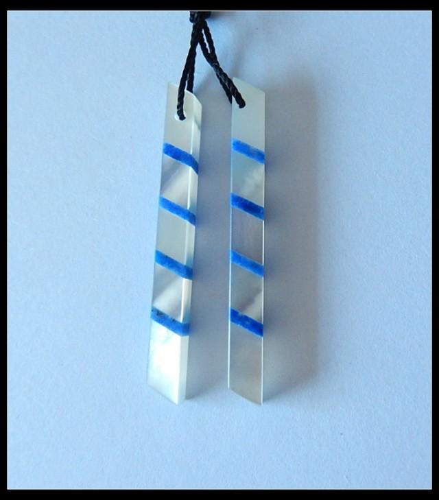 13.2 ct Shell ,Lapislazuli Intarsia Earring Beads