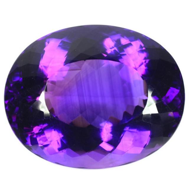 Huge 162+ Cts Natural AAA Violet Amethyst Oval Faceted Uruguay Gem