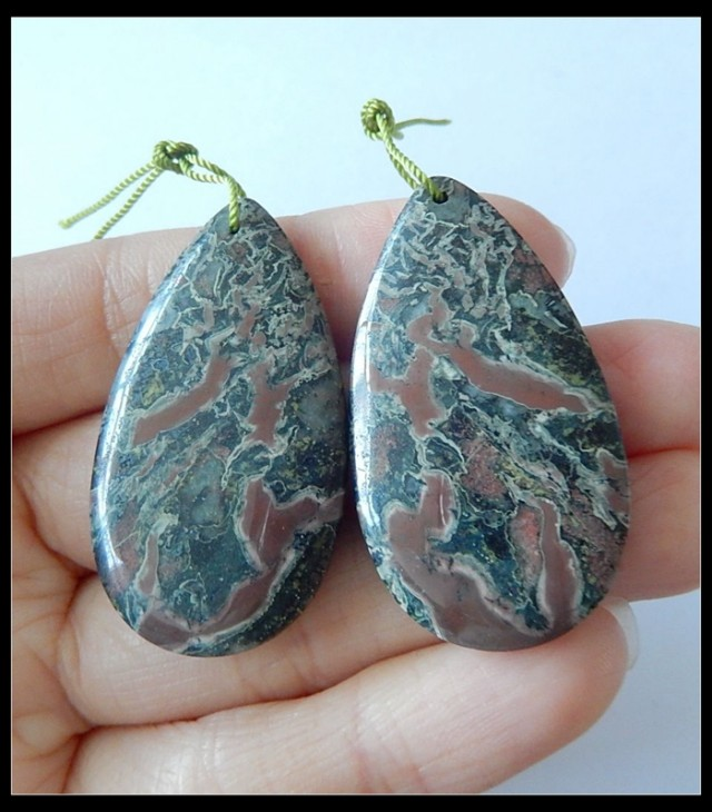 84 Ct Natural Moss Agate Heavy Earring Bead