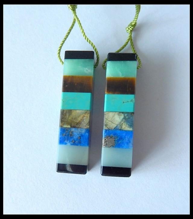 40.95 Ct Sven Stone Intarsia Earring Beads