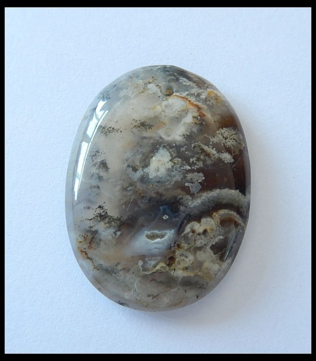 65 Ct Dendritic Agate Gemstone Oval Flat Bead