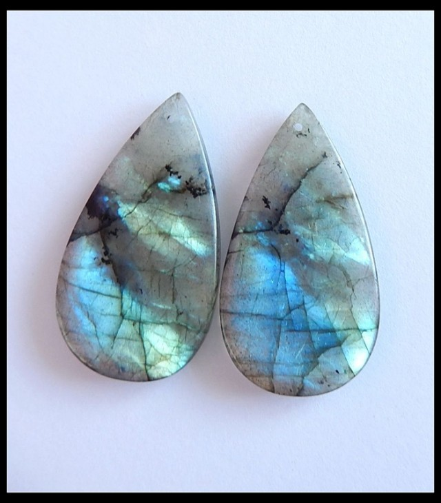 67.65Ct Natural Labradorite Earring Beads , Oval Earrings Beads ,Wholesale