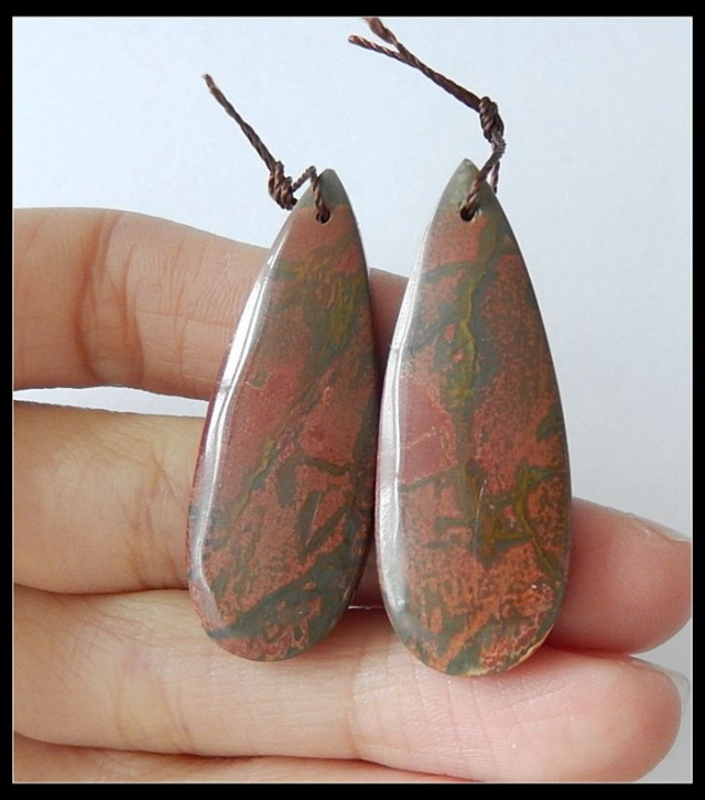 49.3 Ct Natural Multi Color Picasso Jasper Earring Beads