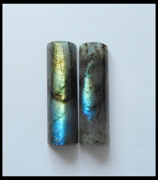 78 Ct Natural Labradorite Gemstone Cabochon Pair ,Gemstone Beads