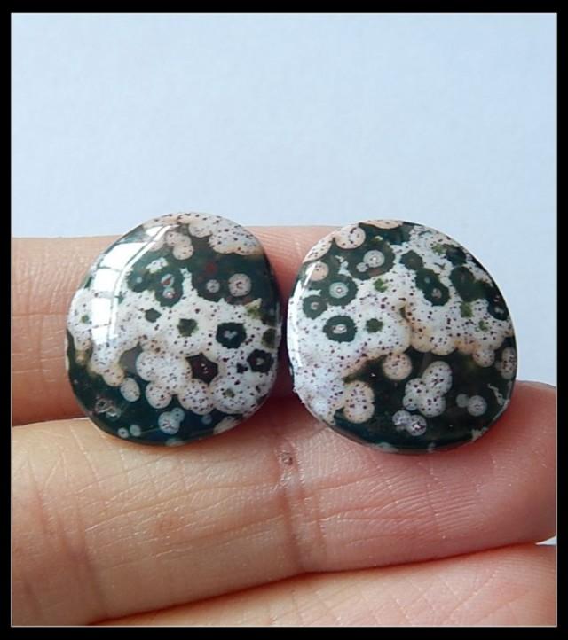 21.5 ct Natural Ocean Jasper Cabochon Pair ,Wholesale Jewelry