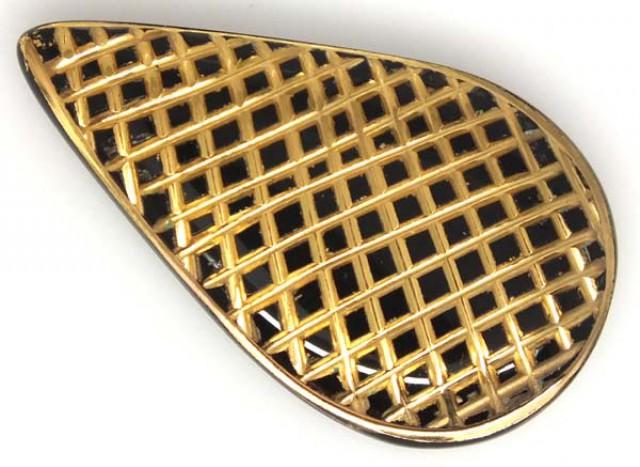 22 CTS BLACK ONYX 24K GOLD ENGRAVED  LG-948