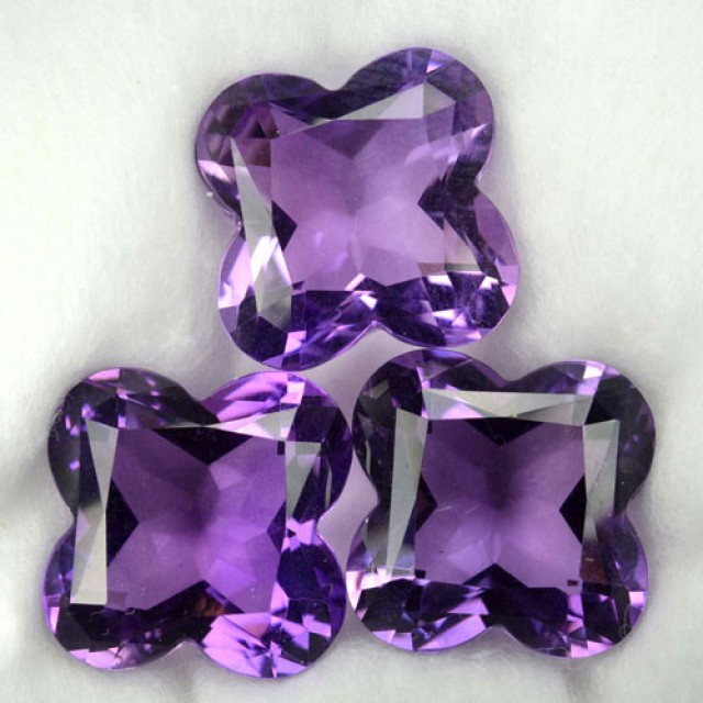 36.70 Cts Natural Purple Amethyst 3 Pcs Fancy Cut Bolivia Gem