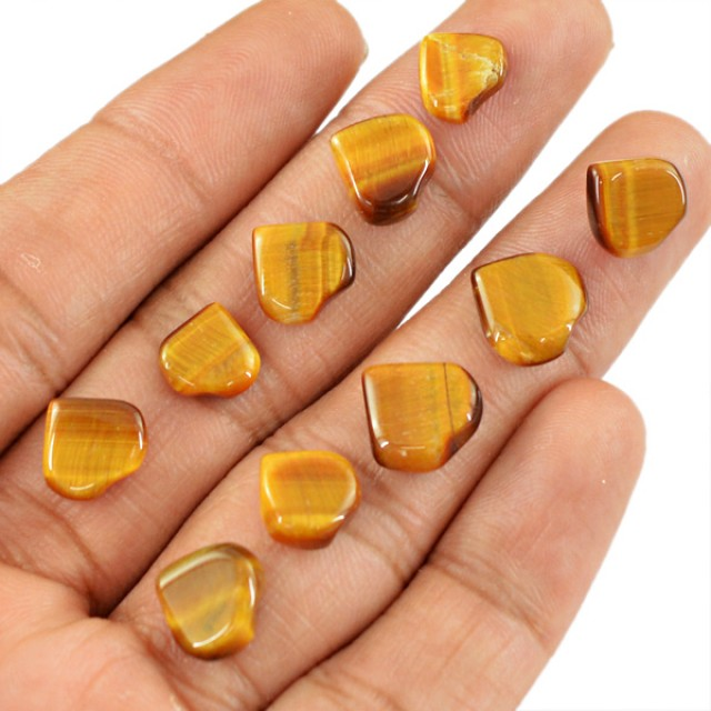 Genuine 27.15 Cts Heart Shaped Golden Tiger Eye Cab Lot