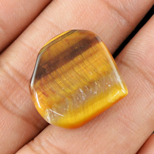 Genuine 13.75 Cts Heart Shaped Golden Tiger Eye Cab