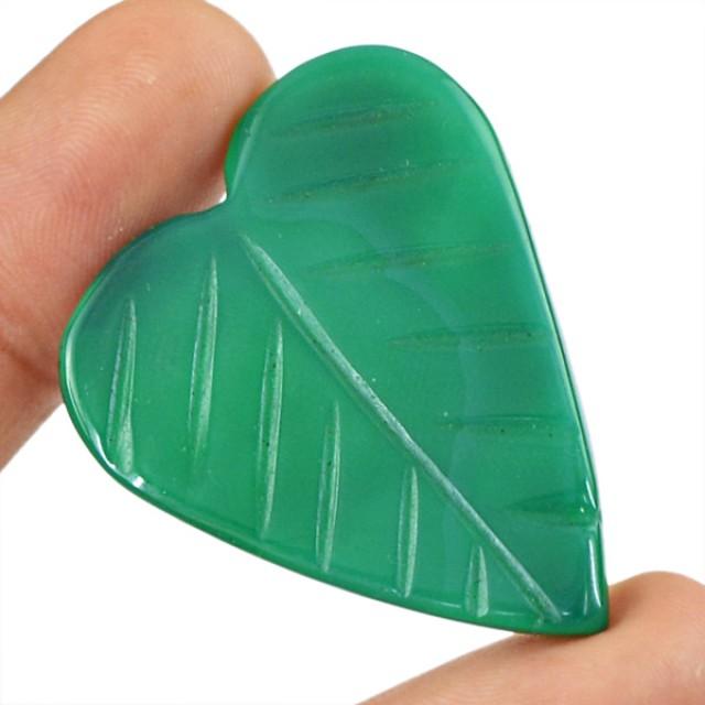 Genuine 40.85 Cts Heart Shaped Green Onyx Cab