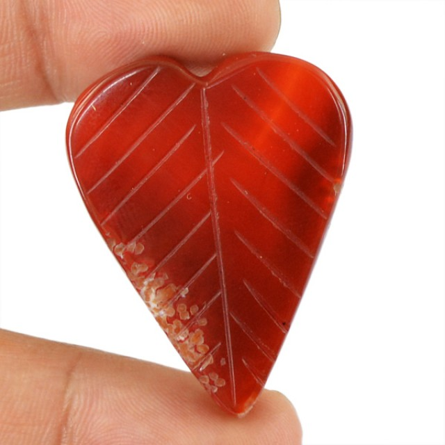 Genuine 43.55 Cts Heart Shaped Red Onyx Cab