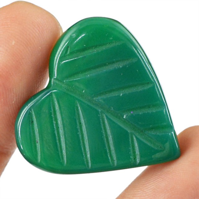 Genuine 30.35 Cts Heart Shaped Green Onyx Cab