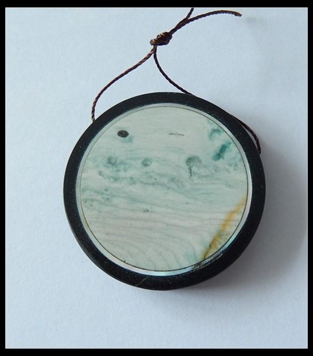 93.5Ct Natural Wave Jasper,Obsidian,Shell Intarsia Pendant Bead