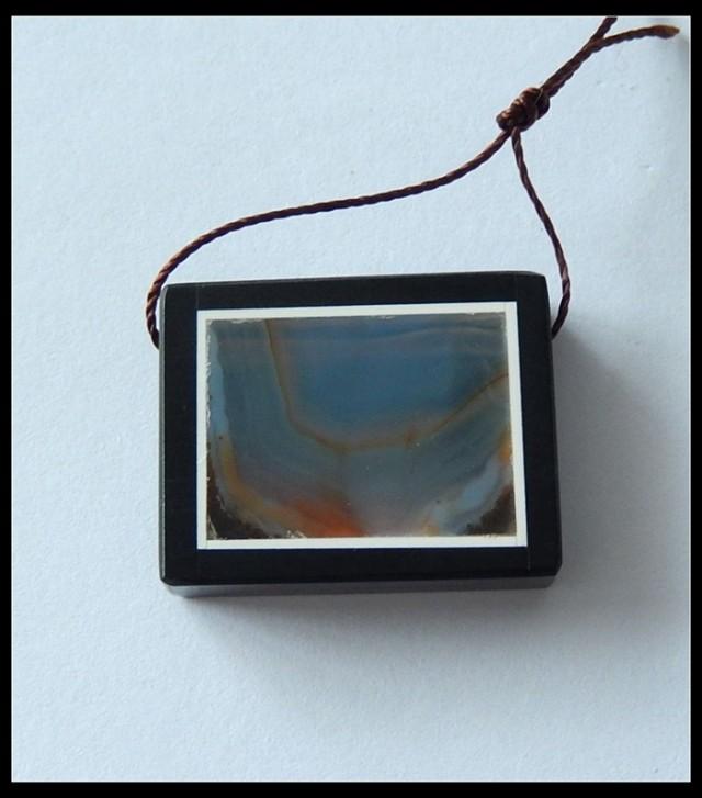 41.5ct Natural Agate ,Obsidian Intarsia Pendant Bead