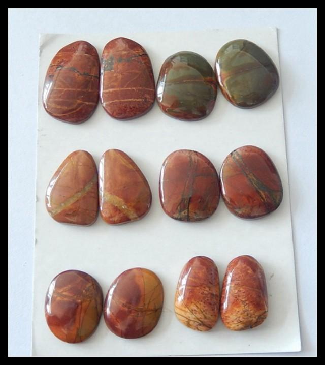 6 Pairs Multi Color Picasso Jasper Cabochons Pairs,162.5ct