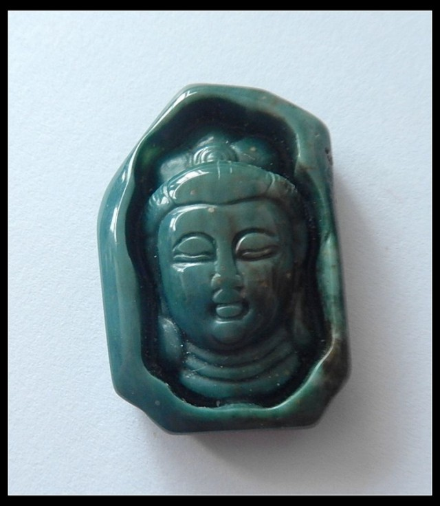 54Ct Natural Wave Jasper Buddha Head Carving Cabochon