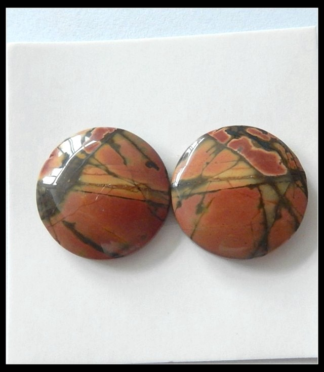 18.5Ct Natural Multi Color Picasso Jasper Cabochon Pair (C0035)