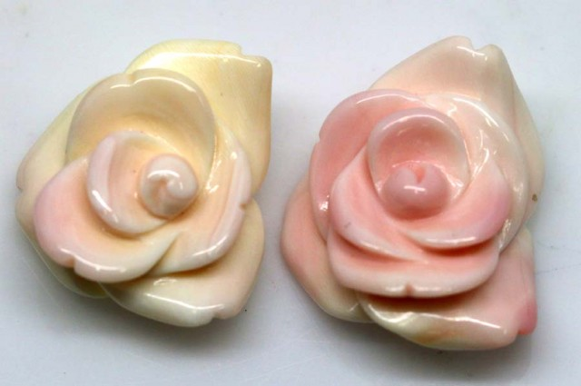 41.05 CTS CONCH SHELL FLOWER DRILLED PARCEL (2PCS) LT-592