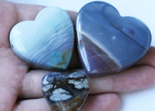 263 Cts Three Heart Shape Jasper Beads   BU1555