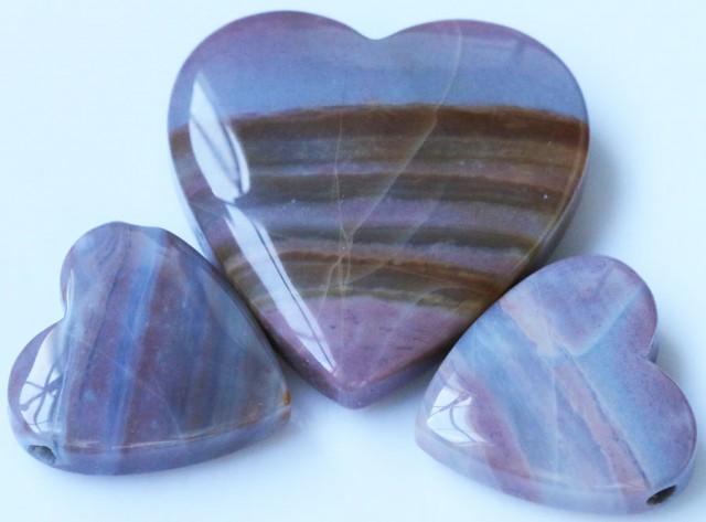 214 Cts Three Heart Shape Jasper Beads   BU1558