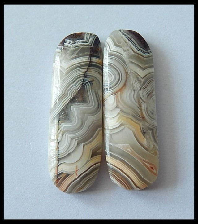 28ct Natural Crazy Lace Agate Cabochon Pair (C0011)