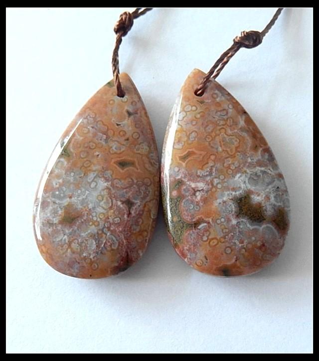 35.5ct Natural Ocean Jasper Earring Beads