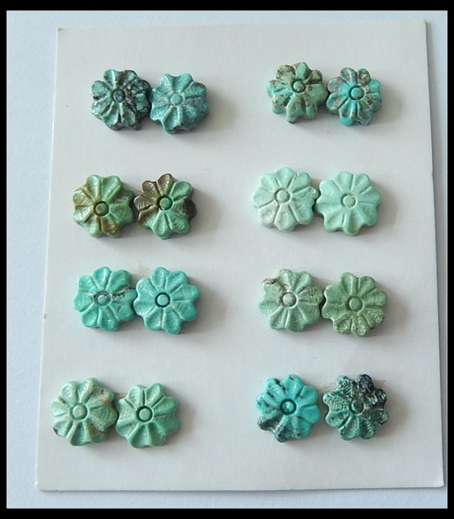 8 Pair Turquoise Flower Cabochons Pairs,31ct