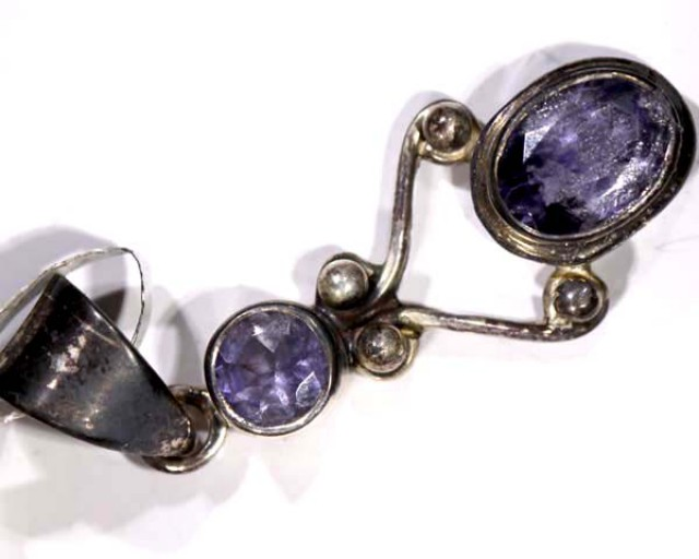 IOLITE FACETED SILVER PENDANTS - 21CTS TBJ-594