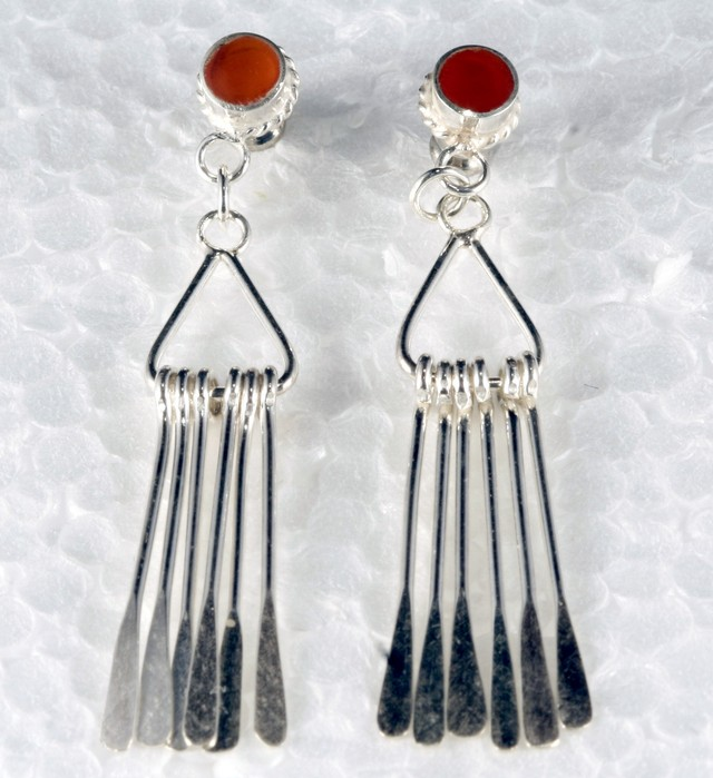 Sterling Silver Earring With Real Chalcedony Gem SE-02