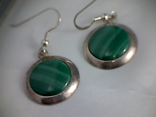 Lovely Green Malachite Earrings, Israel IS01