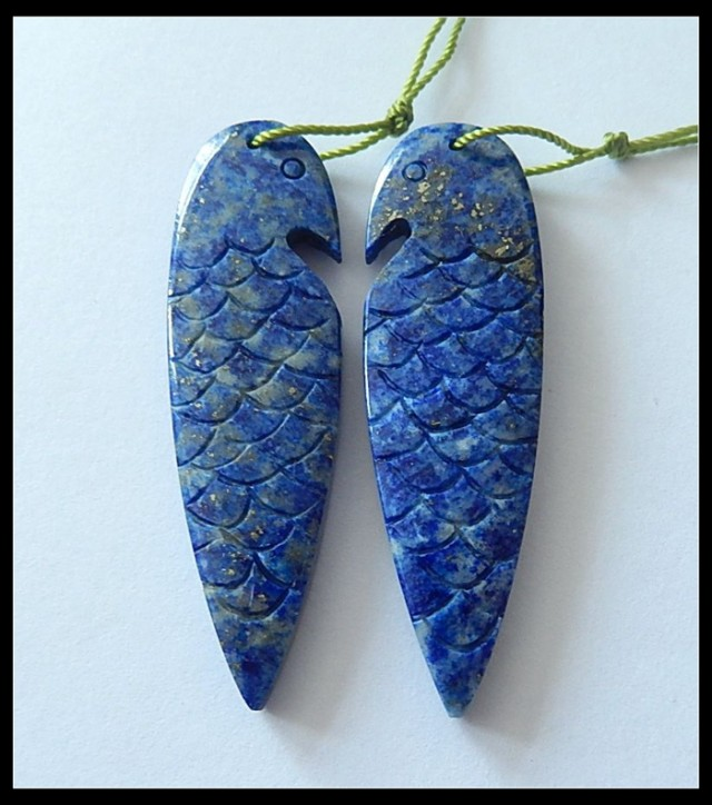 56.45ct Bird Carving Lapislazuli Earring Beads