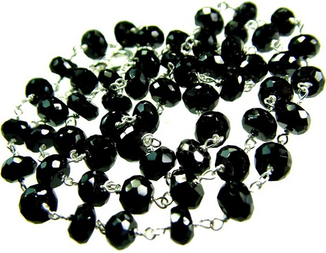 BLACK SPINEL NECKLACE 220MM 76.6 CTS [GT686 ]