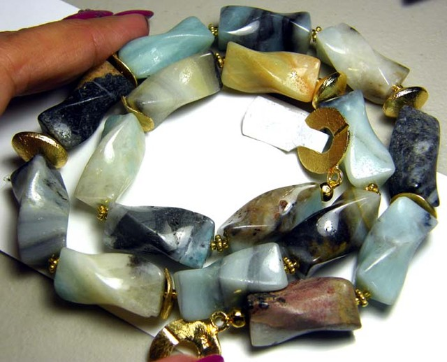 PERU OPAL TWIST BEAD NECKLACE 555 CTS  AS-A5335
