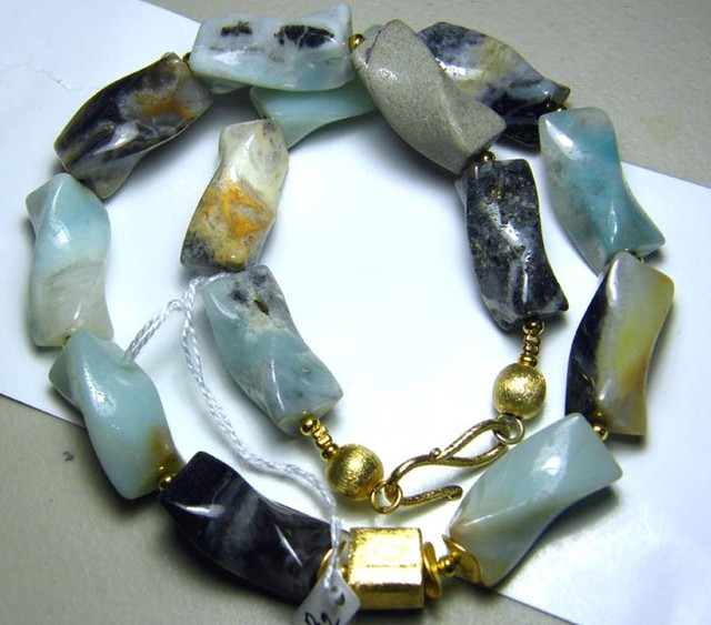 PERU OPAL TWIST BEAD NECKLACE 450  CTS  AS-A5336