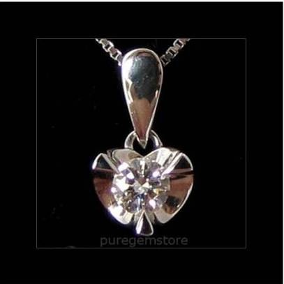 18k Solid White Gold Moissanite Pendant & 14k Necklace 16""