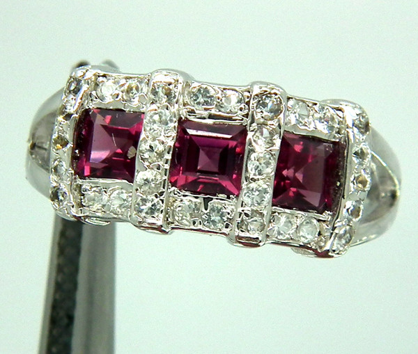 PINK TOURMALINE  SILVER RING  19 CTS  SIZE- 7.5   RJ-90