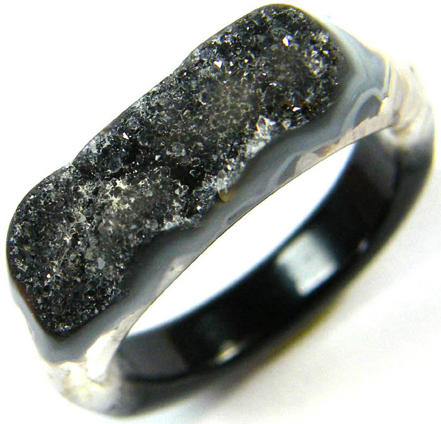 NATURAL   DRUSY AGATE RING 11 SIZE 21.90 CTS [SJ364]