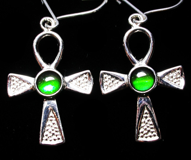 24.17 CTS AMMOLITE EARRINGS -SLIVER [SJ2532]