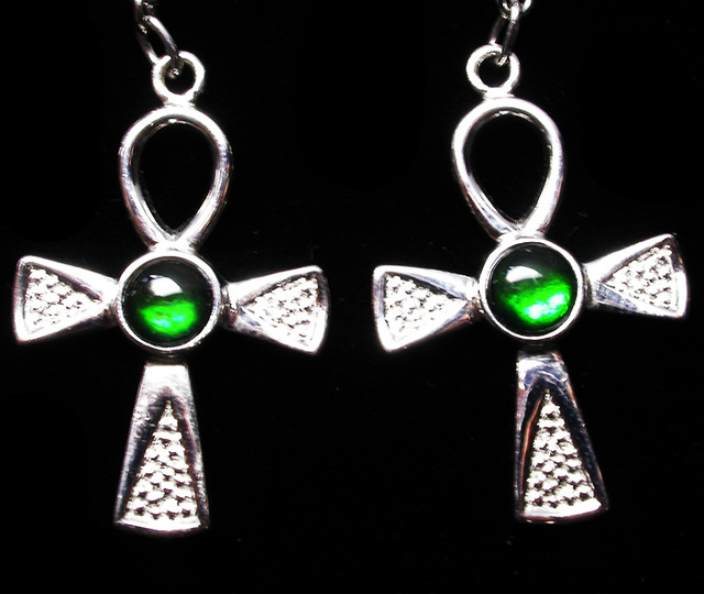 24.41 CTS AMMOLITE EARRINGS -SLIVER [SJ2534]