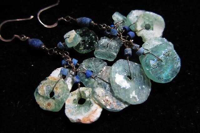 LONG  ANCIENT ROMAN GLASS EARRINGS  MJA 202