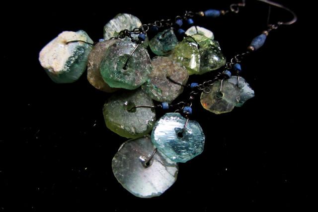 ANCIENT ROMAN GLASS EARRINGS  MJA 205