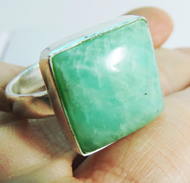 LargeSq  Amazonite in Silver Ring size  8  JGG 125