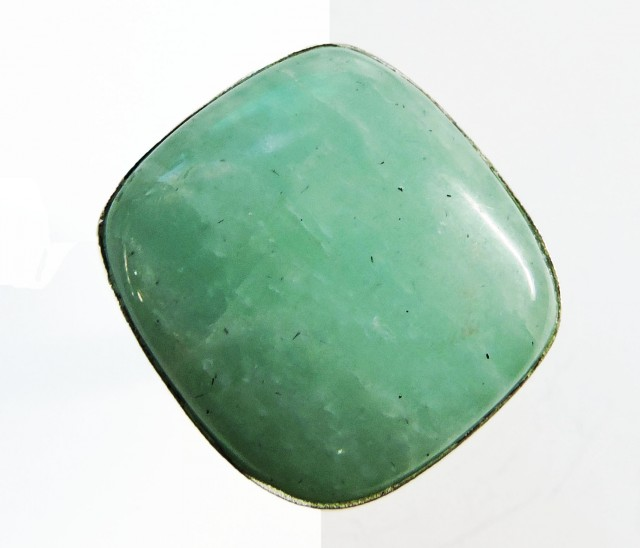 Large Sq Cushion  Amazonite in Silver Ring size   JGG 126