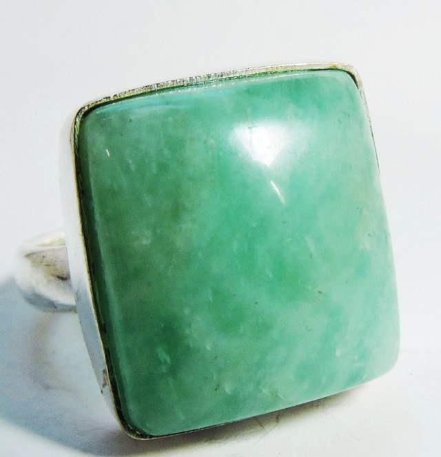 Large Sq  Amazonite in Silver Ring size 8   JGG 129