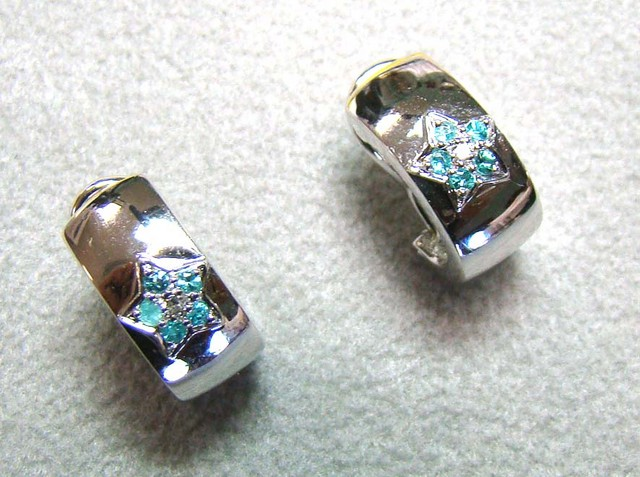 PARAIBA EARRINGS 18K WHITE GOLD 21 CTS DN-27