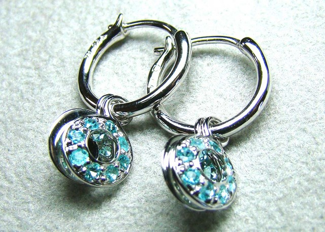 PARAIBA EARRINGS 18K WHITE GOLD 14CTS DN-50