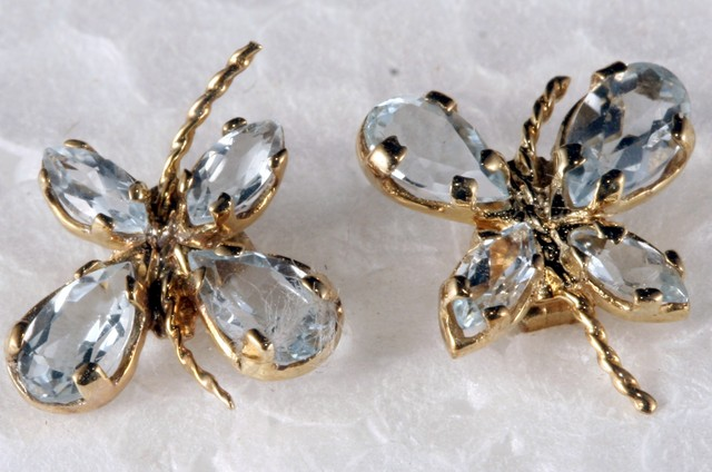 10K Gold Earring set with genuine Topaz SE-111