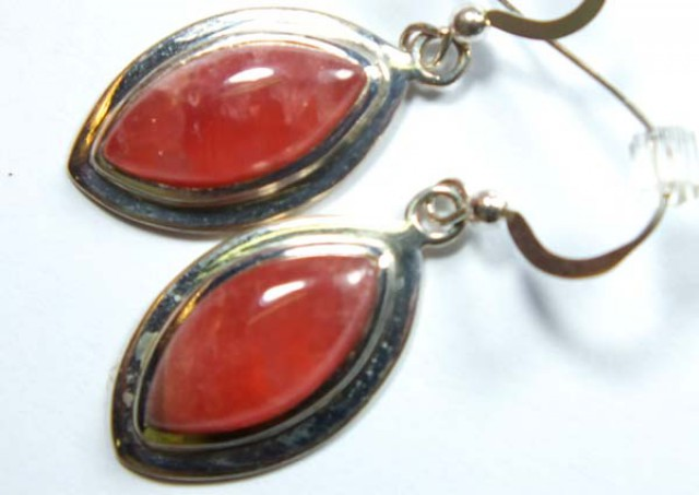 RHODOCHROSITE EARRINGS 28.45  CTS  SJ-17