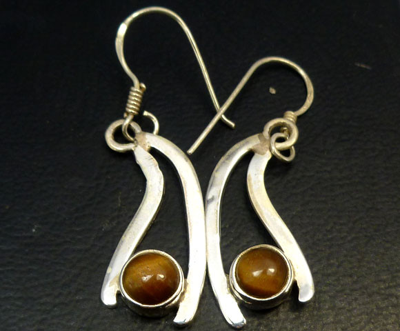 AUSSIE TIGER EYE  SILVER EARRINGS         RT 1179