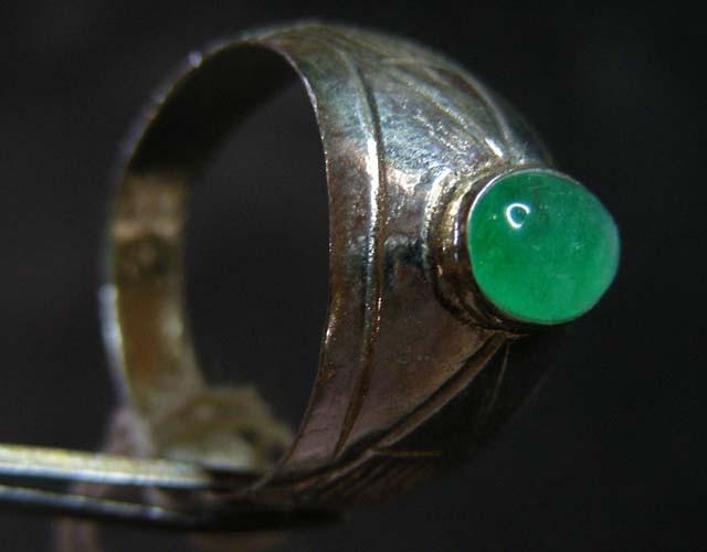 NATURAL  jade  IN TIBETAN  RING  SIZE9    11 920
